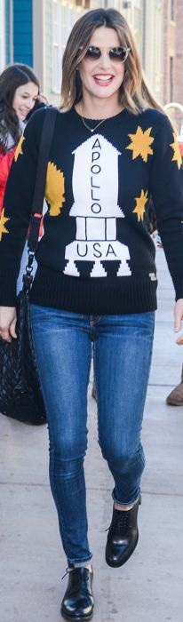 Cobie Smulders wearing a Coach sweater at Sundance