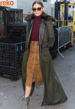 Olivia Palermo wearing a floor-length coat.