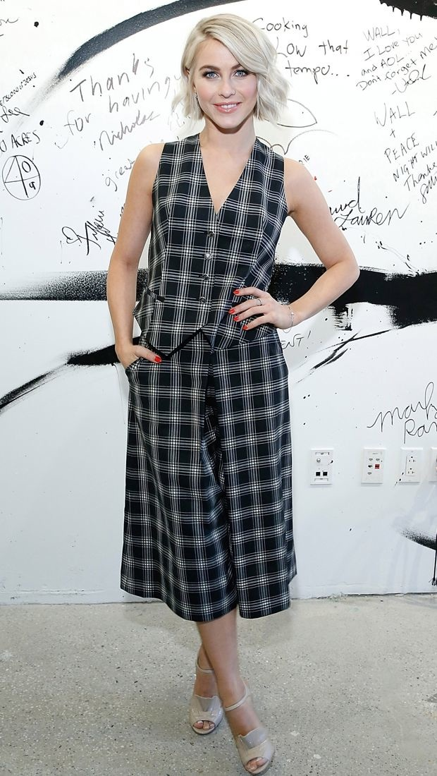 Julianne Hough wears a plaid Temperley London Spring 2015 waistcoat and culottes