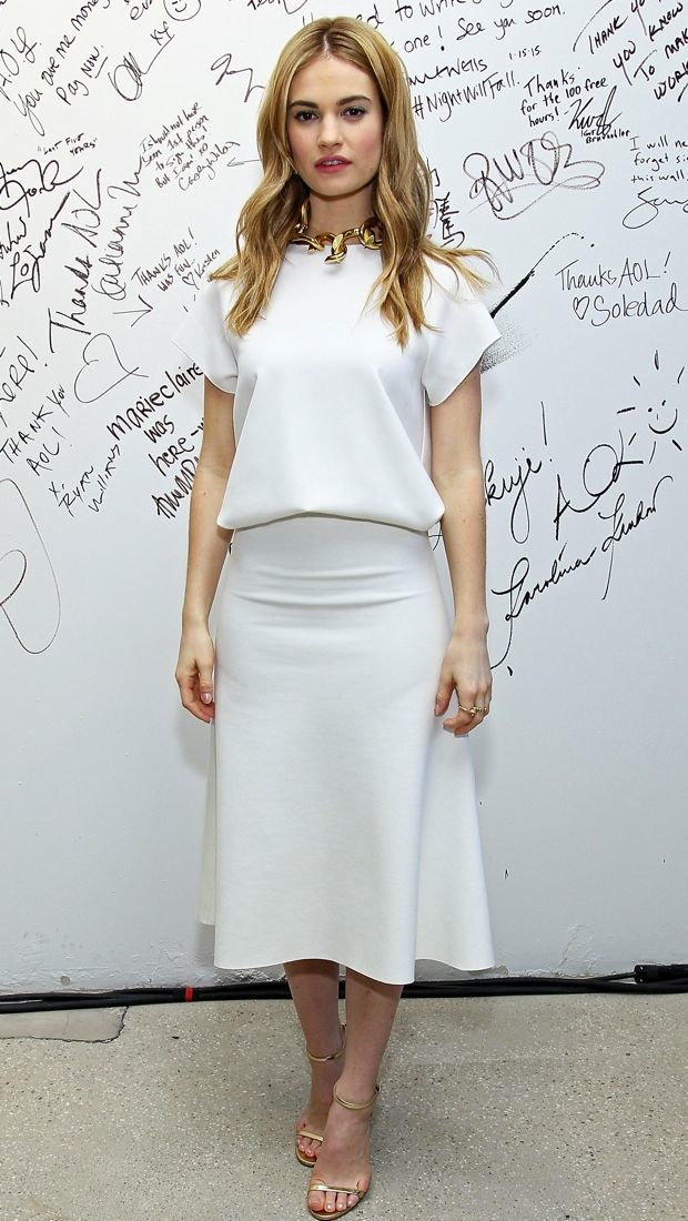 Lily James sports a white Camilla and Marc ensemble to the AOL BUILD Speaker Series