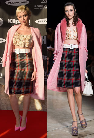 Miley Cyrus Miu Miu plaid skirt and pink jacket. Runway model wears the same look.