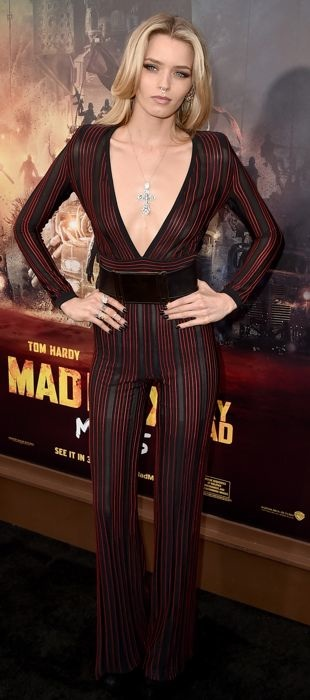 Abbey Lee Kershaw in Balmain at Mad Max: Fury Road premiere