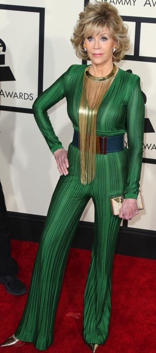 Jane Fonda in a Balmain jumpsuit at the Grammys