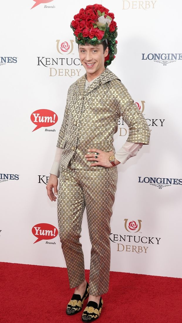 Johnny Weir wearing a rose-covered and mint julep hat to the Kentucky Derby