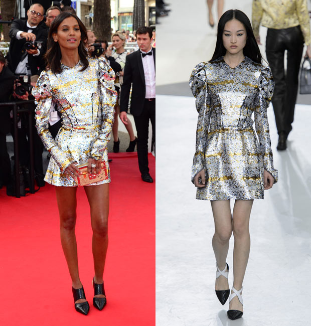 Liya Kebede in shiny Louis Vuitton on red carpet. Model wears same look on runway.