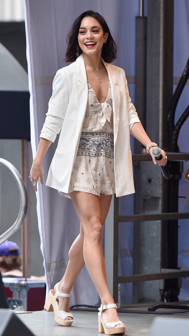 Vanessa Hudgens wears a patterned Saylor romper onstage