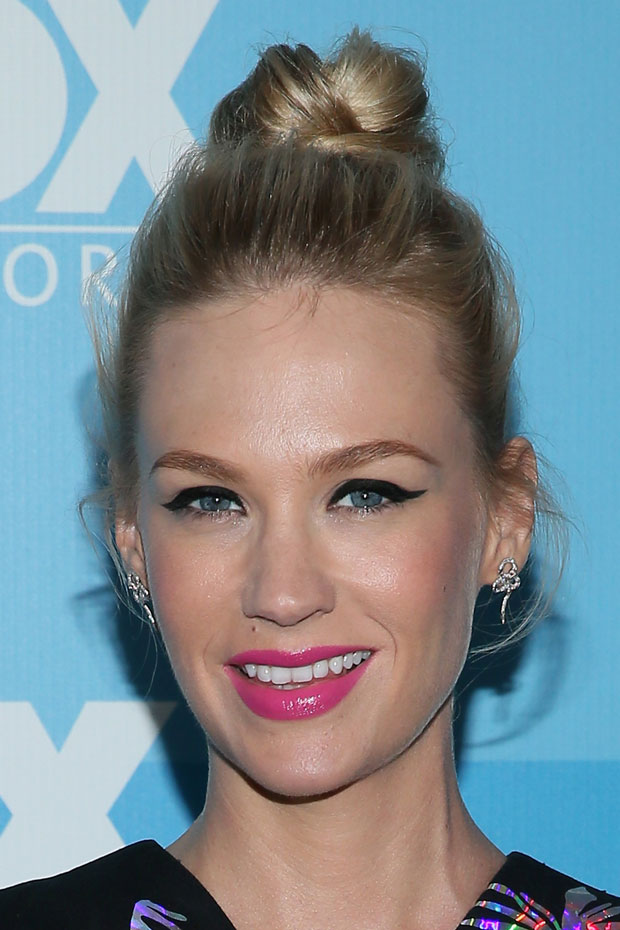 Get January Jones' Bold, Bright Summer Makeup - theFashionSpot