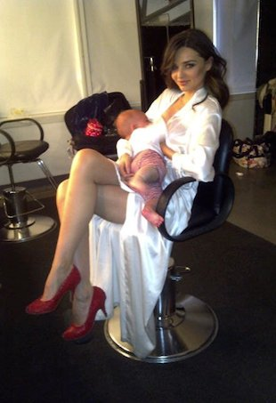 Model Miranda Kerr breastfeeding son