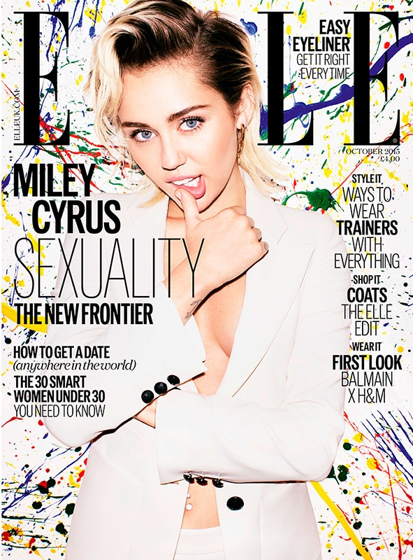 UK Elle October 2015 Miley Cyrus by Matt Irwin