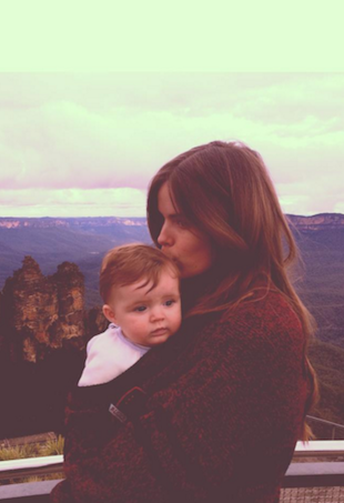Robyn Lawley with daughter