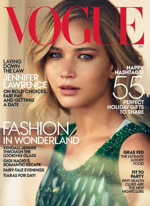 US Vogue December 2015 : Jennifer Lawrence by Mikael Jansson