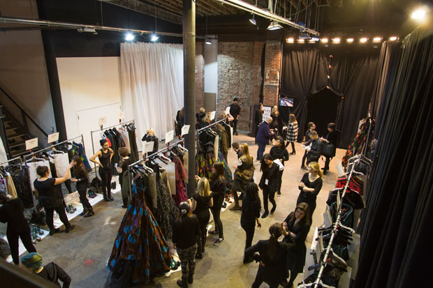 Backstage at Christian Siriano Fall 2015; image: Imaxtree