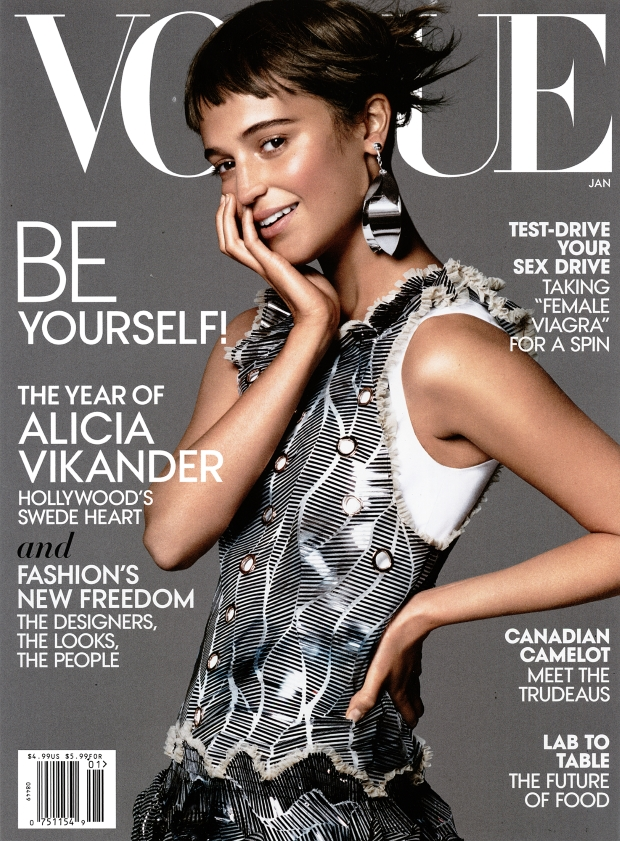 US Vogue January 2016 : Alicia Vikander by David Sims