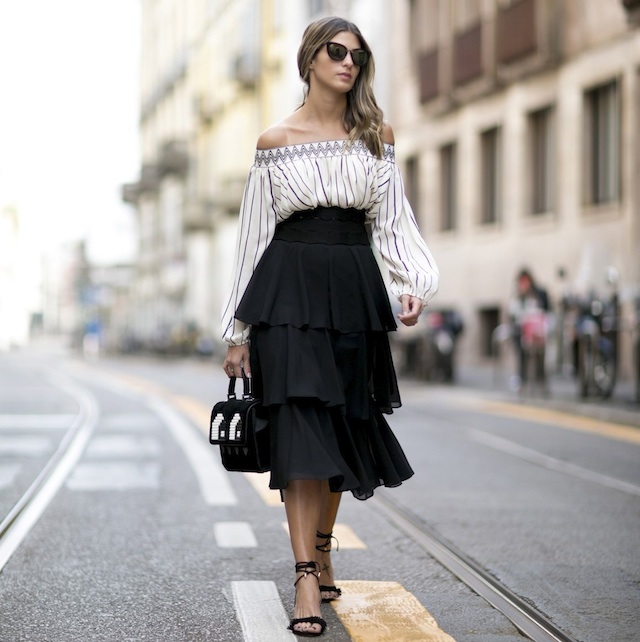 off-the-shoulder-white-blouse-black-skirt-street-style