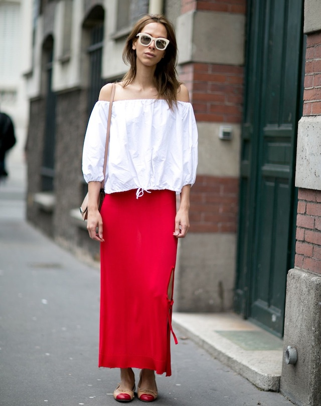 off-the-shoulder-white-blouse-red-skirt-street-style