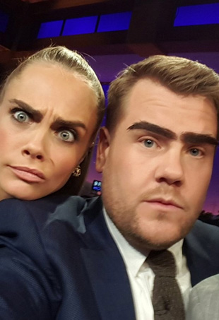 Cara Delevingne, Dave Franco and James Corden on the set of The Late Late Show.