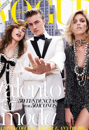 Vogue España August 2016 : Lucky Blue Smith, Crista Cober & Anja Rubik by Nico Bustos