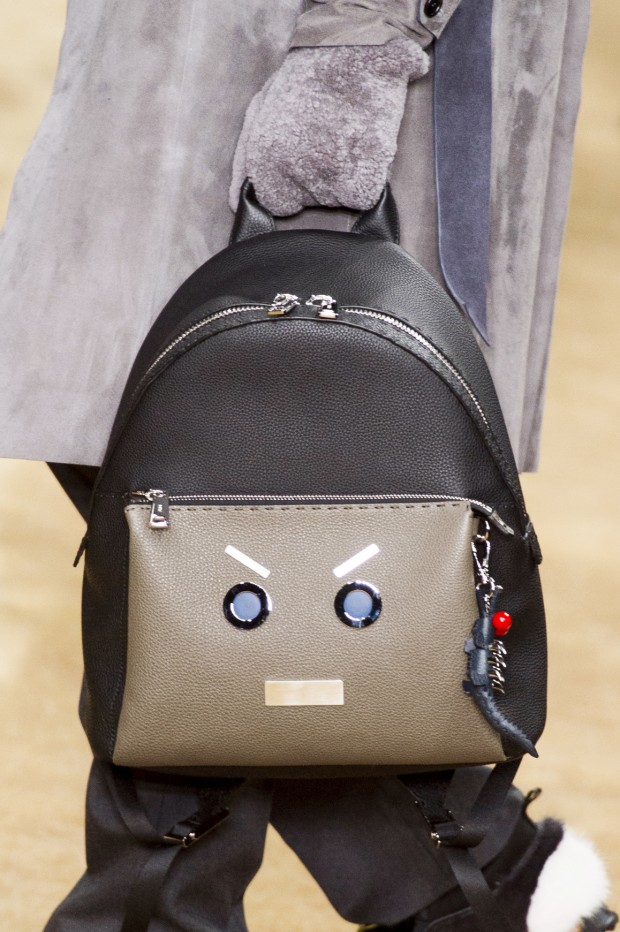 An anthropomorphized backpack as seen on Fendi's Fall 2016 menswear runway.