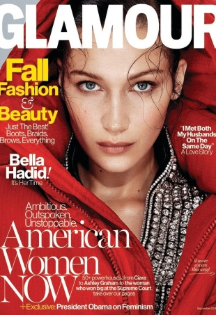 US Glamour September 2016 : Bella Hadid by Nathaniel Goldberg