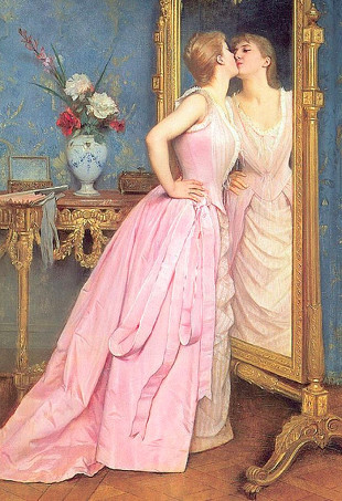 A painting of a woman in a pink dress kissing her reflection in the mirror.