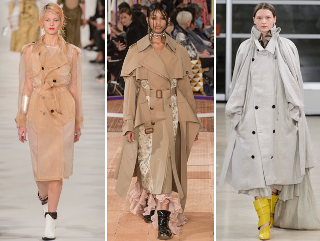 Trench coats at Maison Margiela Spring 2018, Alexander McQueen Spring 2018, Y/Project Spring 2018