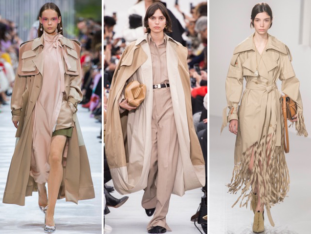 trench coats at Valentino Spring 2018, Celine Spring 2018, Loewe Spring 2018