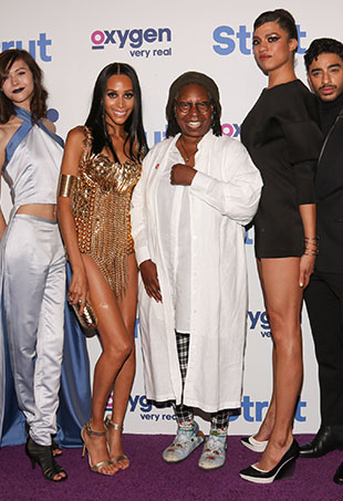 "(L-R) Ren Spriggs, Isis King, Whoopi Goldberg, Arisce Wanzer, Laith De La Cruz and Dominique Jackson attend the ""Strut"" New York Premeire at Marquee on September 12, 2016 in New York City."