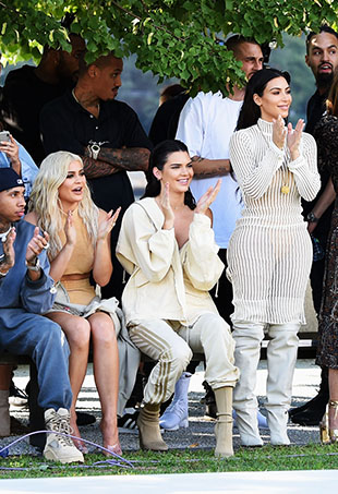Tyga, Kylie Jenner, Kendall Jenner and Kim Kardashian attend the Kanye West Yeezy Season 4 fashion show on September 7, 2016 in New York City.