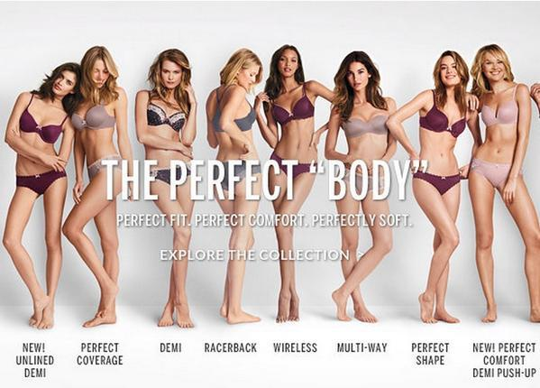 "Victoria's Secret's controversial ""Perfect Body"" campaign imagery."