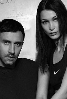 Bella Hadid Sits Half-Naked on Riccardo Tisci's Lap for Nike