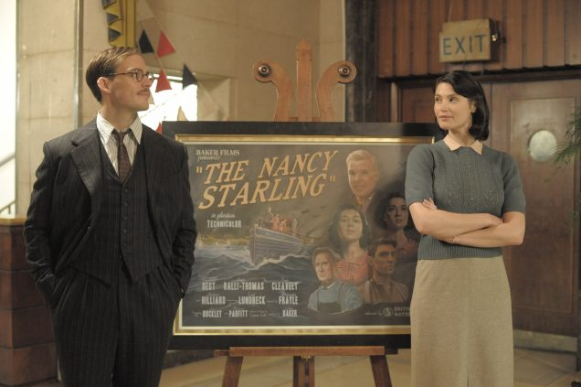 "Catrin, Buckley and the poster for their ""Technicolor"" masterpiece ""The Nancy Starling."""