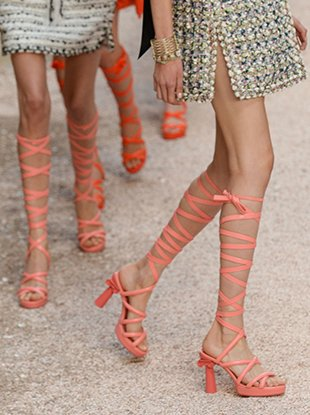 Column-heeled sandals on the Chanel Resort 2018 runway.