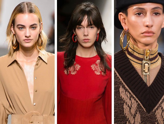 Hoop earrings were all over the Fall 2017 runways at Michael Kors Fall 2017, Fendi Fall 2017, Marc Jacobs Fall 2017.