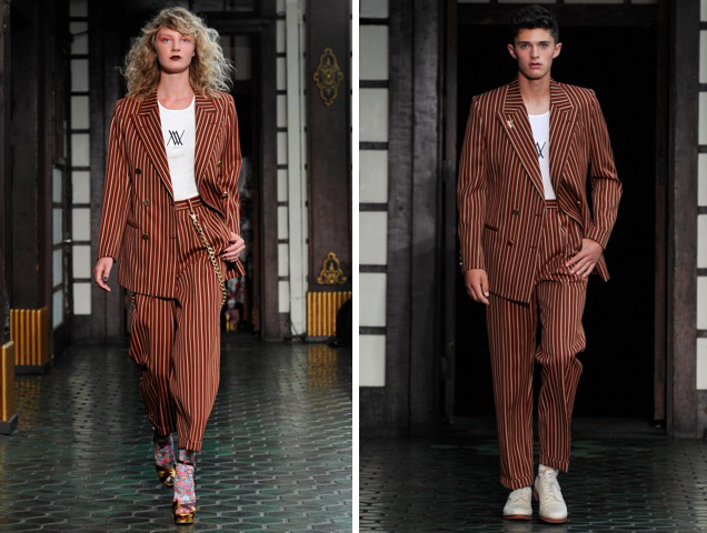 Male model and female model wear the same suit at Wolk Morais Fall 2017 runway.