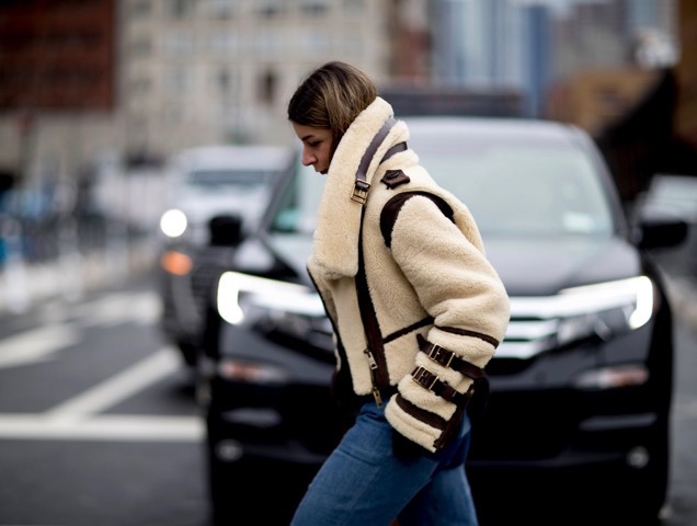 Street style: Shearling jackets and coats are in for Fall 2017.