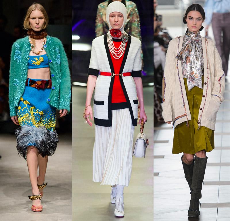 Cardigans at Prada, Gucci, Tory Burch Fall 2017 runways