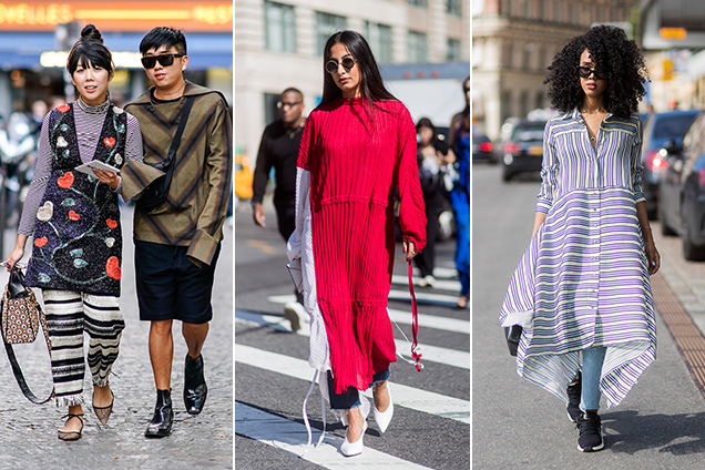 Outside the Spring 2018 shows, street style stars rocked dresses in every length, shape and fabric with all manner of pants (though denim was a clear favorite)