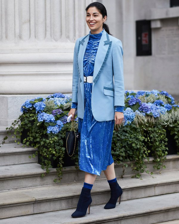 how to wear sock boots with a dress: street style