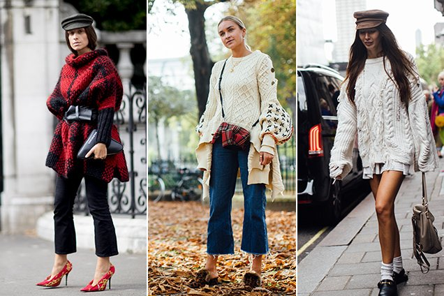 fashion girls wear oversized sweaters, street style