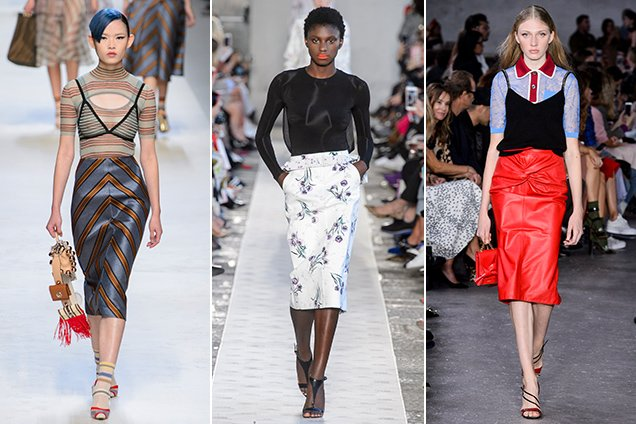 Pencil skirts on the Spring 2018 runways.