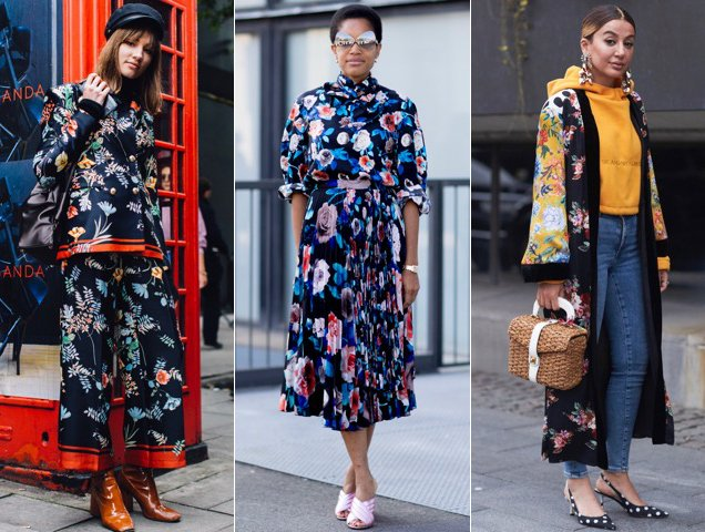 Street style takes of winter florals.