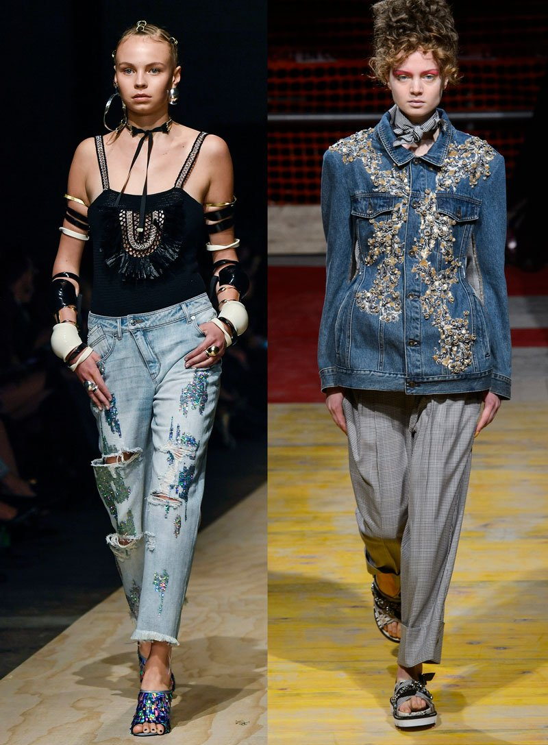 Statement denim on the Spring 2018 runways at Sass and Bide, Antonio Marras