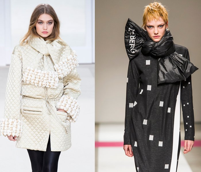Puffer scarves at the Chanel and Iceberg Fall 2016 shows