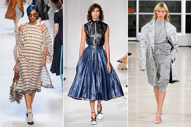 Ruching on the Spring 2018 runways. Fendi Spring 2018, Calvin Klein Spring 2018, Y/Project Spring 2018
