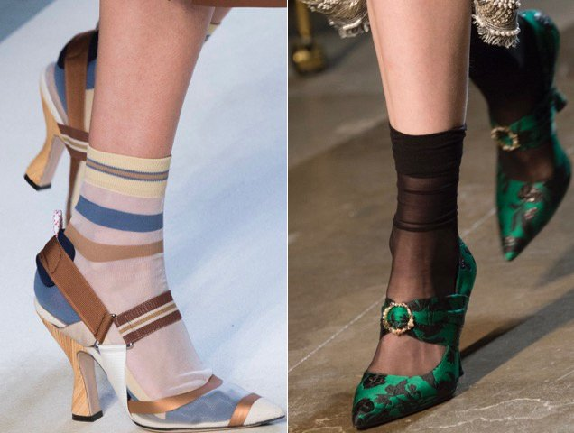 Sheer socks were also spotted on the Spring 2018 runways.