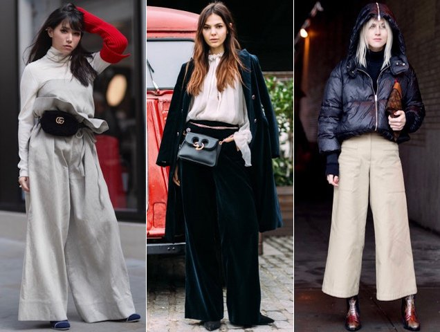 Wide-leg pants prove popular with fashion insiders.