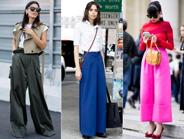 Wide-leg pants taken to the streets.
