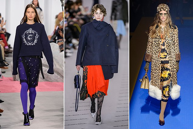 Every season, tights show up on the runways. These are from Carven Spring 2017, Balenciaga Fall 2017, Gucci Spring 2018
