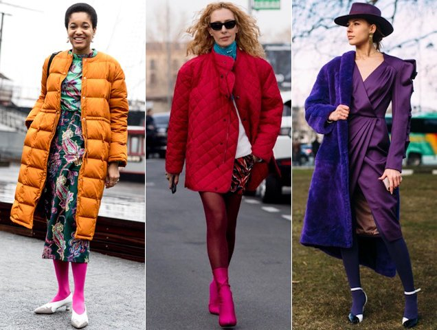 Colored tights hit street style.