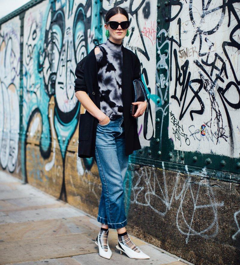 woman wears jeans and kitten heel slingbacks